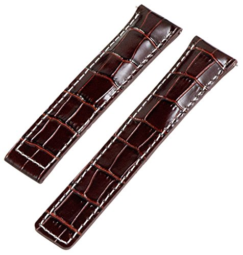 19mm Brown / White Croco Leather Interchangeable Watch Band Strap- Made for Tag -