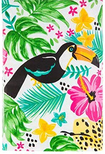 HAPPY DEALS ~ Vinyl Flannel Back Tablecloth - Jungle Toucan Bright Tropical Hibiscus Jungle Summer Luau 52 x 70 Table Cover ()