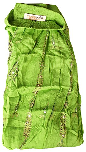Exotic India Long Falda with Printed Flowers and Embroidered lentejuelas Jasmine Green
