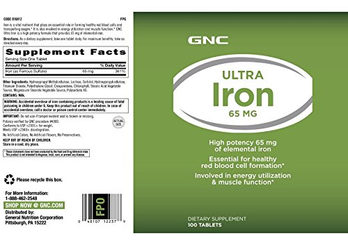 Amazon.com: GNC Ultra Iron 65mg, 100 Tablets, Supports Red Blood Cell Formation: Health & Personal Care