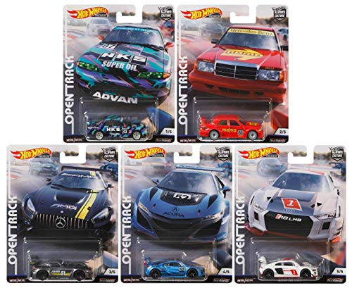 Car Culture Hot Wheels 2019 Open Track Series Set of 5, 1/64 Scale Diecast Cars ()