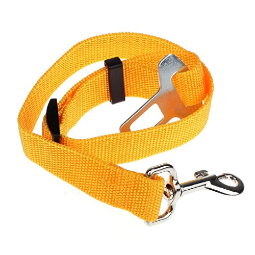 Mikey Store Vehicle Car Seat Belt Seatbelt Harness Lead Clip Pet Cat Dog Safety (Yellow) (Dallas Halloween Block Party 2017)