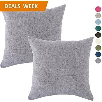 Set of 2 Throw Pillow Covers Coastal Cushions Fine Faux Linen Home Decorative Soft Pillow Case