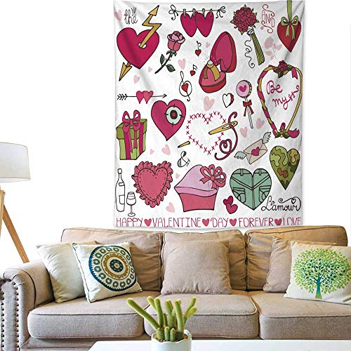 Anyangeight Simple Tapestry Valentine Day Wedding Design Hearts Frame Decor Element Set 60W x 80L INCH