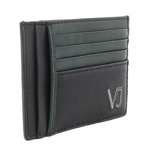Versace EE3YQBPA4 E899 Black & Green Compact Wallet