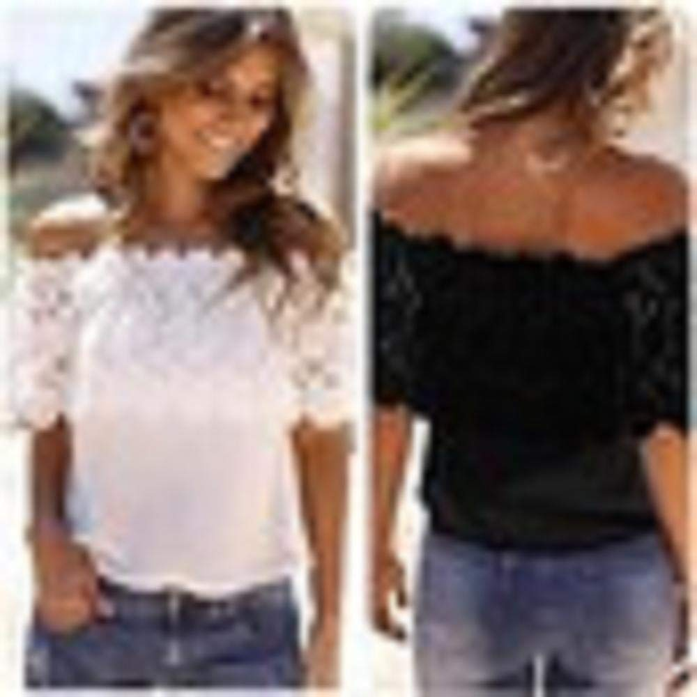 ZZpioneer Women's Summer Lace Crochet Chiffon Shirt Casual Off Shoulder Short Sleeve Tops Tees(M,White) by ZZpioneer (Image #6)