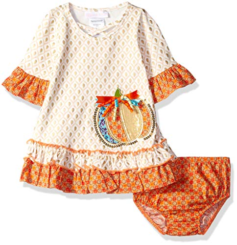 Bonnie Baby Baby Girls Appliqued Dress and Panty, Ivory Pumpkin, 12M