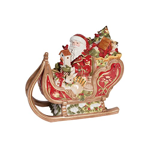 Fitz and Floyd 19-663 Damask Sleigh Cookie Jar, Vintage Red/Gold
