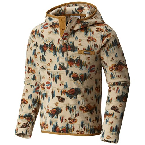 Columbia Mountain Side Fleece Hoodie, Fossil Columbia Classic Print, Medium (Columbia Packed Out)