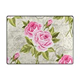 My Little Nest Vintage Pink Roses Area Rug 4′ x 5'3″ Lightweight Modern Floral Mat Non-Slip Indoor Outdoor Decor Soft Carpet For Bedroom Living Dining Room