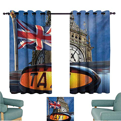 DONEECKL Decorative Curtains for Living Room Union Jack Union Jack Flagon Pole and Big Ben Taxi Cab Urban Modern Country Symbols Image Thermal Insulated Tie Up Curtain W55 xL45 Multicolor