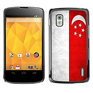 Shell-Star ( National Flag Series-Singapore ) Snap On Hard Protective Case For LG Google NEXUS 4 / Mako / E960