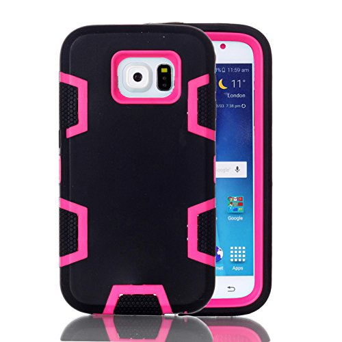 Price comparison product image Galaxy S6 Case,  Firefish Shock-Absorption 3 in 1 Combo Hybrid Defender High Impact Body Armor Hard PC and Silicone Case for Samsung Galaxy S6 - Black Rose-Red