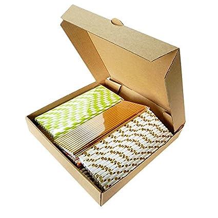 Kraft caja de pizza ecomojiware 9 pulgadas pizza cajas de PIZZA Kraft cartón Take Out contenedores cajas de embalaje 10 piezas: Amazon.es: Hogar
