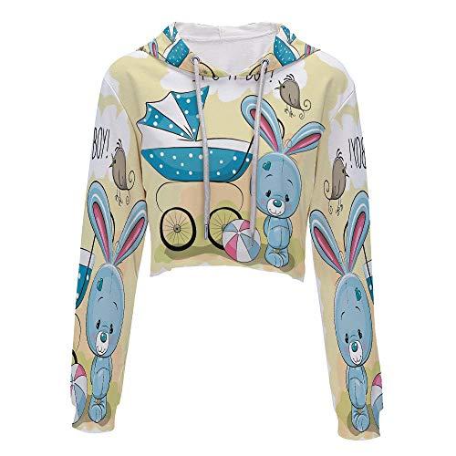Long Sleeve Crop top Tops with Drawstring S/M Avocado Green BlueCute Bunny BAB