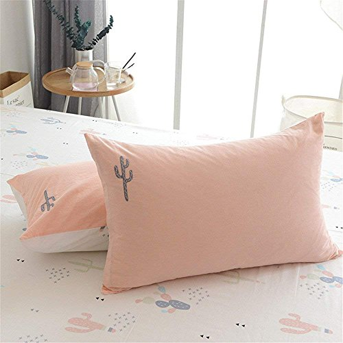 PinkMemory 100% Cotton Standard Pillow Shams Reversible White and Peach Embroidery Cactus Standard Size Pillow Cases Zipper Closure Pillow Covers 20 ×26 Inches Set of 2