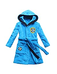 feetoo Brazil Soccer Team Embroidered Child Bathrobe boy Coral Cashmere Robe