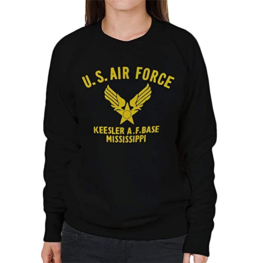 US Airforce Keesler AF Base Mississippi Yellow Text Womens Sweatshirt: Amazon.es: Ropa y accesorios