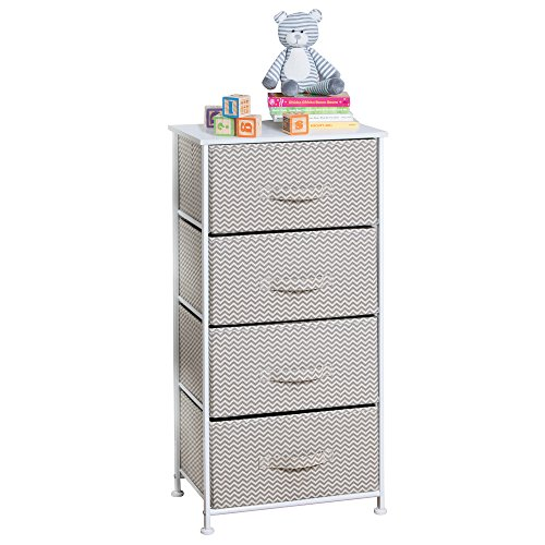 mDesign Chevron Fabric Baby 4-Drawer Dresser and Storage Organizer Unit for Nursery, Bedroom, Play Room - Taupe/Natural (Storage Drawers Dresser)