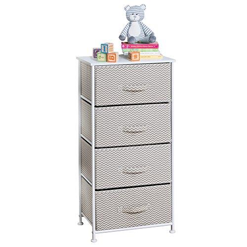 Dresser Organizer (mDesign Chevron Fabric Baby 4-Drawer Dresser and Storage Organizer Unit for Nursery, Bedroom, Play Room - Taupe/Natural)