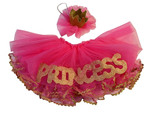 Crown Skirt - Max Daniel Designs Maxine Pink & Gold Tutu Set, Princess Skirt and Glitter Crown, Baby Photo Shoot Flower Girl Dress; 2 Piece (6-9 Months, Pink/Gold)