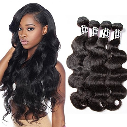 Star Show Body Wave Bundles Human Hair Extensions Grade 7A Unprocessed Virgin Hair Bundles Natural Color (10 12 14 16 inch) Full and Thick Hair Weave 4 Bundles Wholesale
