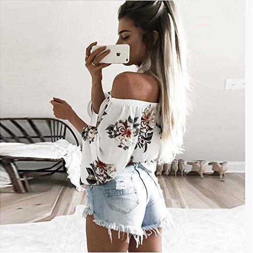 Dos Nues Vetement Mode Tshirt paules Bateau Basic Femme Tee Longues Printemps Nu B Impression Elgante lastique HX Shirt Modle Manches Casual Shirts Encolure fashion Shirt Fleurs CqwT11