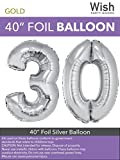 Wish Party Goods Extra Large Giant Jumbo 40 inch Silver Color High Quality Mylar Foil Number Balloons - Special Milestone Birthday/Anniversary/Wedding Party Event Decorations (30)