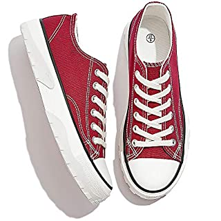 AOMAIS Women's Casual Canvas Shoes Slip on Sneakers Low Top Fashion Sneakers Lace Up Shoes(Maroon,US9)