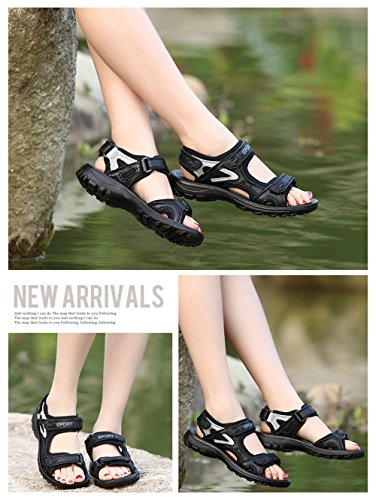 Womens Active Casual Sandal Adventure Seeker 2 Straps Sandal, Ladies Outdoor Open Toe Sandals Black White 2