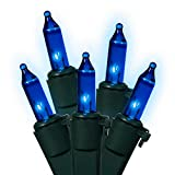 Vickerman 7495422 Blue Mini Christmas Lights with Green Wire, Set of 100