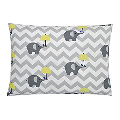 Lappi Baby Toddler Pillow with Pillowcase - Elephants Gray Baby Pillow & Toddler Pillowcase - 100% Hypoallergenic Soft Cotton Toddler Pillow Cover & Cute Design Kids Pillow (13x18)