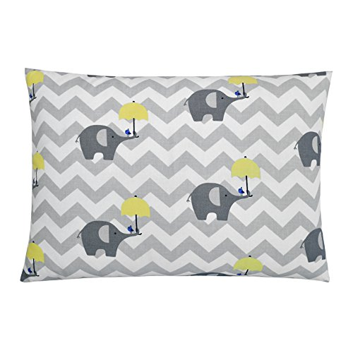 Lappi Baby Toddler Pillow with Pillowcase - Elephants Gray Baby Pillow & Toddler Pillowcase - 100% Hypoallergenic Soft Cotton Toddler Pillow Cover & Cute Design Kids Pillow (13x18) from Lappi Baby