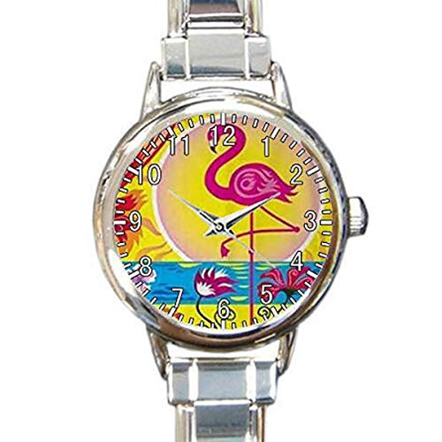 Flamingo Custom Round Charm Bracelet Wrist Watch Waterproof Custom Womens Watch