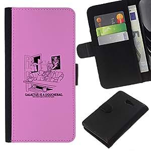 KLONGSHOP // Tirón de la caja Cartera de cuero con ranuras para tarjetas - Galactus Ducha divertido - Sony Xperia M2 //