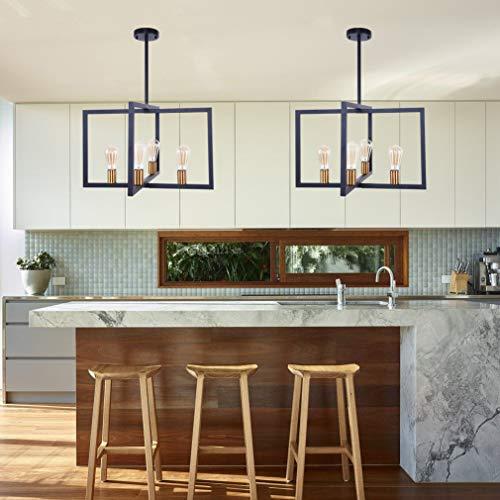 Lingkai Modern Kitchen Island Light 4-Light Pendant Light Dining Chandelier Ceiling Lighting Fixture Industrial Matte Black with Antique Brass Finish by Lingkai (Image #5)