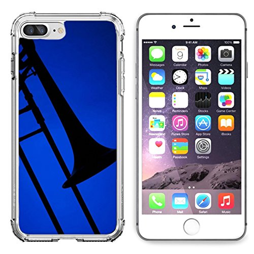 Liili Apple iPhone 6 plus iPhone 6S plus Clear case Soft TPU Rubber Silicone Bumper Snap Cases iPhone6 plus iPhone6S plus A trombone music instrument silhouette isolated against a blue ()
