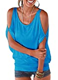 Ranphee Blue Summer T Shirt Women Short Sleeve Cold Shoulder Loose Fit Pullover Casual Top