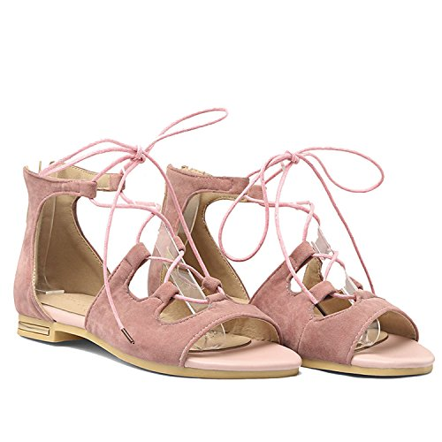 Lace up Pink Flat Sandals Cover Heel with Zipper Upper Open Cross Tied Women's Sandals,Pink,6 (Composite Upper Holder)