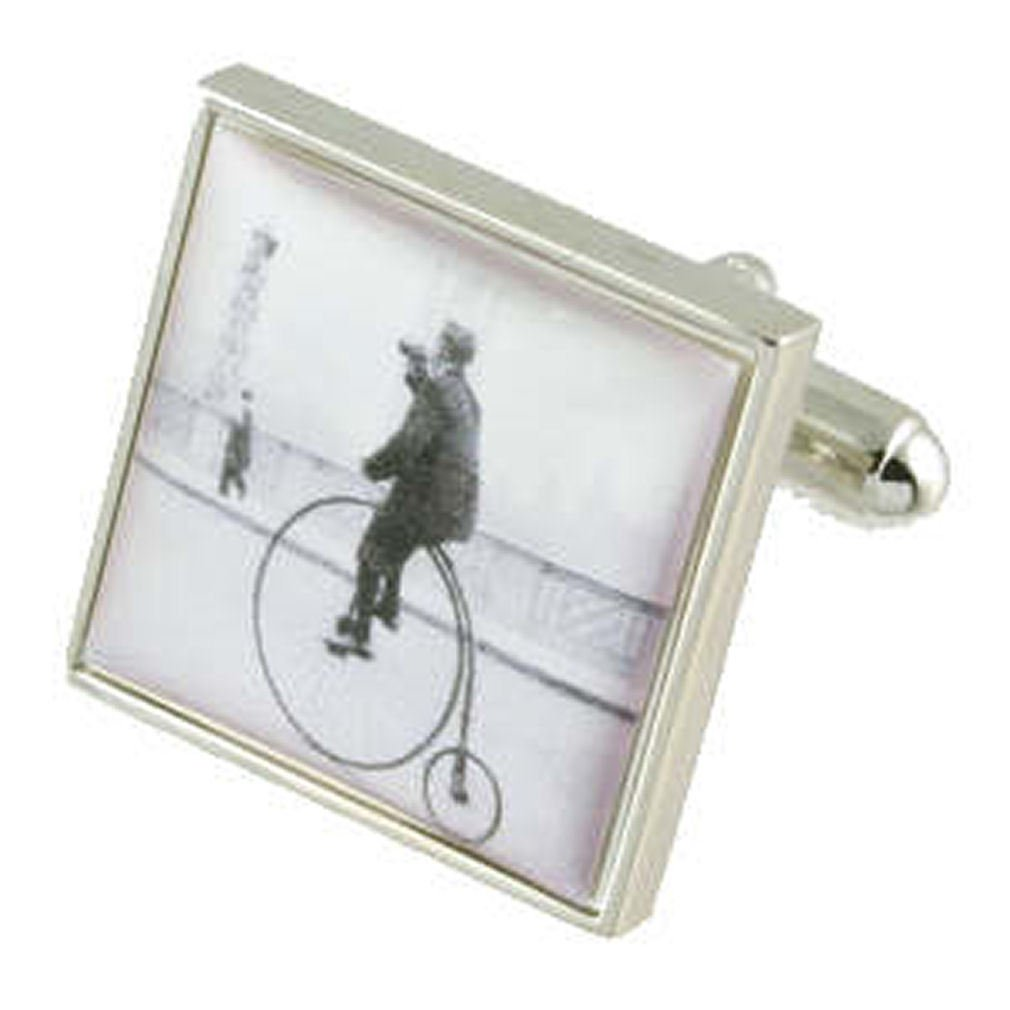 Black Pouch Silver-tone Bicycle Cufflinks~Penny Farthing Bicycle Cuff links