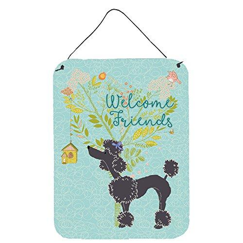 (Caroline's Treasures Welcome Friends Black Poodle Metal Print 16h x 12w Multicolor)