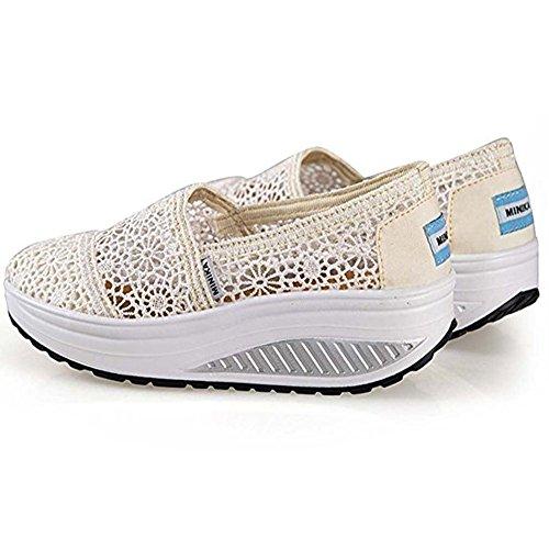 Summer da Fitness Mesh Ginnastica Scarpe Dimagranti Sportive Beige Basculanti Donna Zeppa Scarpe Sneaker Platform WgFYqwF78