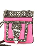 Hot Pink Western Rhinestone Buckle Crocodile Hipster Cross Body Purse, Bags Central