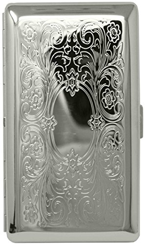 Silver Victorian Scroll (Full Pack 120s) Metal-Plated Cigarette Case & Stash Box ()