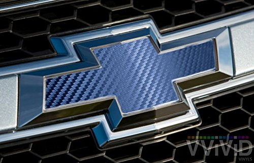 "VVIVID Navy Blue Carbon Fibre Auto Emblem Vinyl Wrap Overlay Cut-Your-Own Decal for Chevy Bowtie Grill, Rear Logo DIY Easy to Install 11.80"" x 4"" Sheets (x2)"