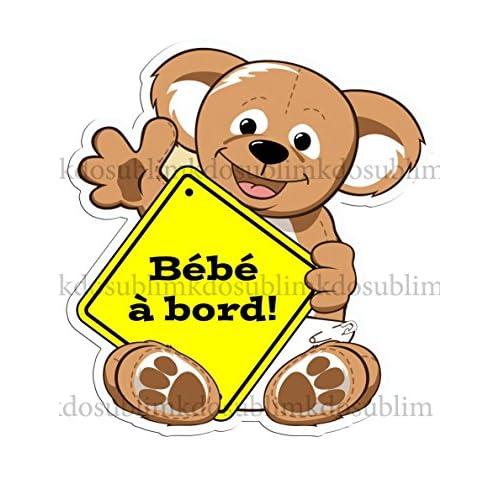 Autocollant couleur Sticker adhésif ourson bébé à bord par Kdosublim 85%OFF