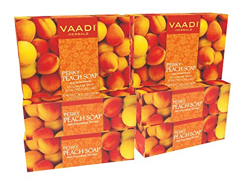 Peach Soap (Peach Bar Soap) with Almond and Wheatgerm Oil - Handmade Herbal Soap (Aromatherapy) with 100% Pure Essential Oils - ALL Natural - Skin Nourishing Therapy - Each 2.65 Ounces - Pack of 6 (16 Ounces) - Vaadi Herbals