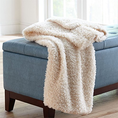 BrylaneHome Olie Faux Shearling Throw (Natural,0)