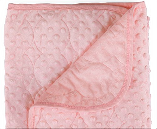 Quilted Baby Girl Boy Blanket Swaddling Receiving Wrap Snuggle Security Crib Stroller, Plush Extra Thick Thermal Felt Double Layer 100% Soft Polyester Fiber Filling Dotted Mink for Infant Toddler Pink (Koala Baby Soft Blanket)