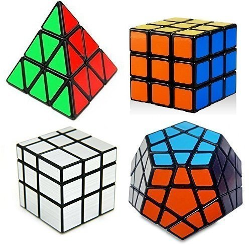 Amazon Lightning Deal 69% claimed: Super Value - Family Cube Puzzle Collection - 4 in One Set - Pyraminx , Megaminx, Mirror 3x3 , Regular 3x3 - Sticker - Black - With Bonus of Stand & Pouch